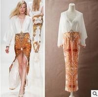 Women Casual Dresses Chiffon Maxi Vintage Long Sleeves Dress Hollow Out Slit Ethnic V vestidos de festa atacado roupas femininas