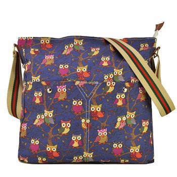 женская мода сова печатных кроссбоди плечо сумка сумка( qq1688)- темно-синий