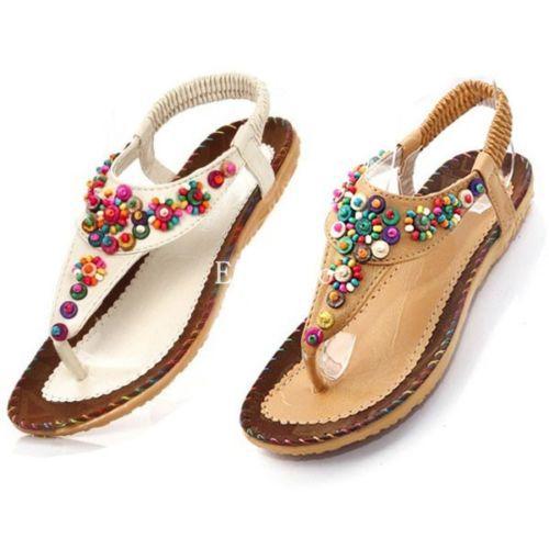 2014 estilo moda primavera senhoras plana Toe Post Shoes Flip Flops das mulheres sandálias Boho Summer Beach bege / Tan(China (Mainland))