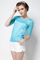 High Quality! 2014 New Fashion women autumn hot-selling clothes candy color gauze long sleeve silk slim casual T-shirts JNT022