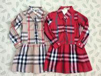 2014   New   Retail   Brand  fashion  spring/autumn  children's   dress  long  sleeve  turn-down  collar  girl's  dress