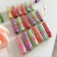 WholeSale 1000pcs! Multiple Colors Transparent Heart Korea Drama A Millionaire's First Love Pills/capsule, Message Pills
