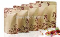 50x Free Shipping 12*20+4cm High-grade printing kraft paper ziplock bag compound aluminum foil bone food packaging bags