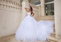 Sexy sweetheart organza ruffled ball gown long train wedding dress