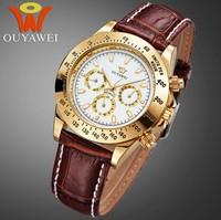 2014 Brand Ouyawei Luxury Gold Mechanical Watch Mens 6 Hands Automatic Mechanical Watch Men Dress Wristwatches Relogio Rolojes