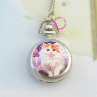 wholesale buyer low price good quality new fashion silver classic cute cat girl lady women fob pocket watch necklace chain hour