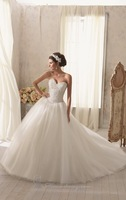 Sweetheart pearls beaded bling wedding dresses ball gown