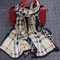 2014 New Fashion Women's Scarf Top Quality 100% Mulberry Silk Scarves Shawl Famous Brand B Scarf Plaid Leopard Design Scraf
