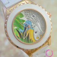 new fashion good quality woman lady girl real ceramic band case white crystal elephant tree 3d dial quartz Watch Wristwatch hour