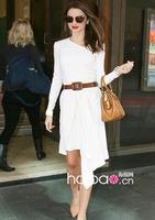 Free shipping 2013 Women's Fashion Miranda Kerr same style asymmetrical White Long Sleeve Dress Celebrity Evening Party Dresses