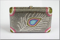 Free Shipping New 2014 Crystal Women Wallets Feather pattern Clutch Bags evening Bags BB4840