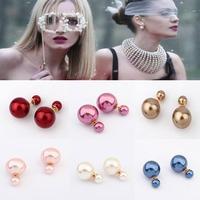 2014 stud earrings /brincos/ brand double side pearl earrings candy color  women statement wedding /marrige jewelry for Women