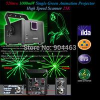 2014 1W Single Green Animation 1000mW 520nm Fat Laser Lighting light Projector ILDA High Speed Scanner 25K DMX 12 channels DHL