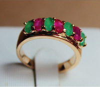 H1187 Green Red 100% Natural Emerald Ruby CZ 14K Yellow Solid Gold Size US 8