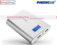 Original Pineng Power Bank 10000mAh PN-988 Dual USB LED Flashlight For Xiaomi M2 M2A M2S Red Rice Lenovo Phones/Silver
