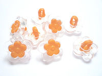 Orange Crystal Resin Flower Button Kid/ 500PC