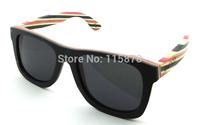 2014 New Fashion Polarized Sunglasses 100% Purely Handmade Skateboard Wood Glasses Outside Black  Frame  Model Z68003