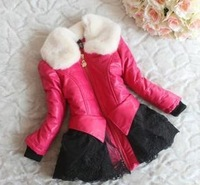 2014 new winter coat Korean children's clothing girls thick lamb fur collar coat for girls,children jacket / outerwear