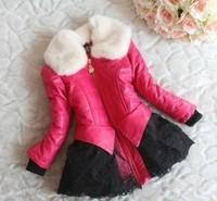 children leather jacket   2014 winter children's clothing girls thick lamb fur collar coat for girls,children jacket / outerwear