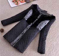 Winter Woollen Coat Women Outerwear Natural Rabbit Fur Patchwork Thick Long Wool Coat Parka Down Jacket Overcoat Casacos  2014