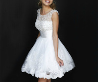 Cheap Price ! Good Quality ! 2015 New Arrival Free Shipping A Line Short Length White / Ivory Lace Pearl Wedding Dresses OW 2119