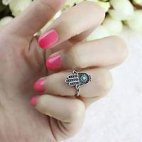 Stylish Silver Hand OF Fatima Lucky Hamsa Hand Ring Evil EYE Protection Rings