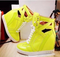 Best Selling 2014 Brand Women Sneakers Ankle Boots Wedge Genuine Leather Designer Heel Platform Fashion Shoes Woman