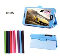 50PC/LOT FE375 Tab Leather Case For ASUS FonePad 7'' Tablet FE375  FE375CG Stand Cover Case +screen protectors