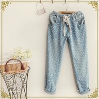 Free Shipping,Retail 2014 New Japanese Mori Girl Autumn Woman Fresh Elastic Waist Washed Denim Pants,Female Casual Pencil Jeans