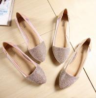 Free shipping women fashion flat shoes diamond shinning blingbling working shoes scoop wedding shoes large size shoes 2014 new