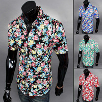 New Men Shirt  Fashion Style Casual Floral  Slim Fit Short Sleeve Men Shirt
