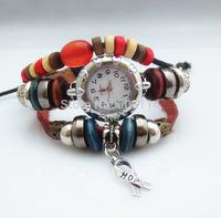 NEW 2014 Infinity Watch Alloy Bracelet Fashion Students Trendy Bead Bracelets Charm Watch Girlsfriends Leather Hand Wear H108