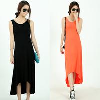 2014 summer fashion sleeveless cotton blending vest black full dress vest one-piece dress
