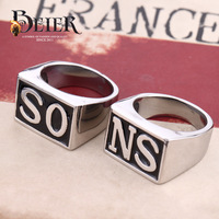 Super Sons of Anarchy Ring SO NS Smooth Stainless Steel Unique Punk Ring Jewelry Man Fashion Free Shipping BR8-039 US size