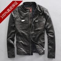 2014 Genuine leather clothing male pure sheepskin slim motorcycle jacket design short outerwear fashion