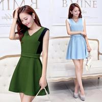 2014 autumn color block  basic sleeveless V-neck tank dress one-piece dress