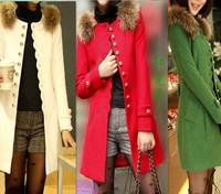 2014 New Women Korean winter long section of woolen woolen coat fur collar long-sleeved wool coat Jacket
