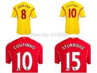 Customize! 14/15 season Gerrard jersey top quality soccer uniforms Size S-M-L-XL