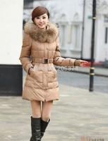 Hot-selling women's winter medium-long big moveable raccoon fur slim down overcoat Parkas jacket outwears warm coat