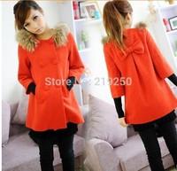 2014 Winter new Korean women bow overcoats free shipping