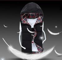 HS-18 Lover women men waistcoat Casual Autumn winter Mens vest winter vests Sleeveless jacket Hooded Down vest Brand