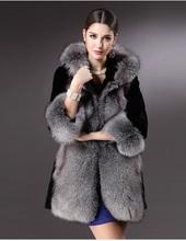 European copy of new fund of 2014 autumn winters is the fox fur coats hooded MAO heavy hair collar imitation fur overcoat(China (Mainland))