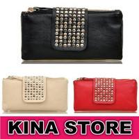 3 Colors Free shipping Women Vintage Versatile Solid Rivet Rivet Tassel Genuine Leather Soft Day Clutches