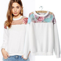 2014 Fashion Patchwork Long Sleeve Autumn Winter Sweatshirts Casual Hoodies Women Pullover Sweatshirts Tops Plus Size S - XXL