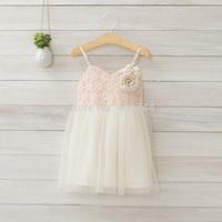 kids lace dress,girls brace lace dress with flower,AA01