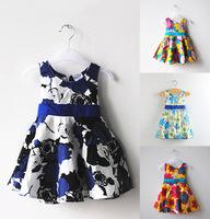 Retail spring new 2014 fashion casual print kid children girls brief toddler summer party birthday gifts Belt flower dress 1008#