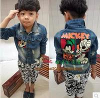 Free shipping Retail 2014 Autumn new s baby boys denim jacket jacket fall one generation