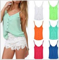 2014 autumn Women Candy Color Blouse Lady Sexy Chiffon shirts Spagetti Strap blusas femininas  S-XXXL NY074