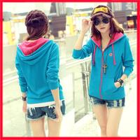 2014 Hot Sale New cheap women Long sleeve hoodie cardigans coat women's hoodie sports wear Track sweatshirt outerwear hooded