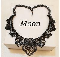 Charm Black Alloy Hollow Flower Crystal False Collar Choker Statement Necklaces & Pendants New 2014 Fashion Jewelry Women N154